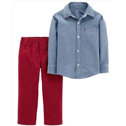 2-Piece Chambray Button-Front & Canvas Pant Set