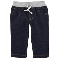 Pull-On Faux Denim Pants